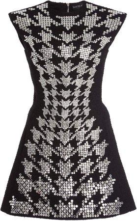 David Koma Crystal-Embroidered Houndstooth A-Line Dress