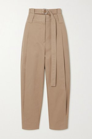 Myriam Belted Pleated Cotton-blend Twill Tapered Pants - Sand