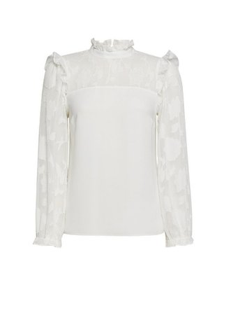 DP Petite Ivory Burnout Long Sleeve Top | Dorothy Perkins