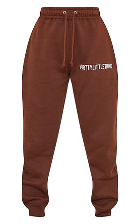 Plt Chocolate Brown High Waisted Joggers | PrettyLittleThing USA