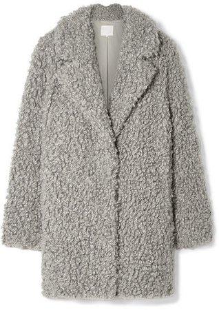 Faux Shearling Coat - Gray