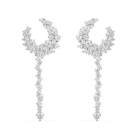 APM Monaco Silver Floral Long Earrings