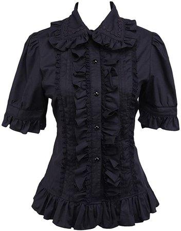 Hugme Cotton Black Ruffle Lolita Blouse at Amazon Women's Clothing store