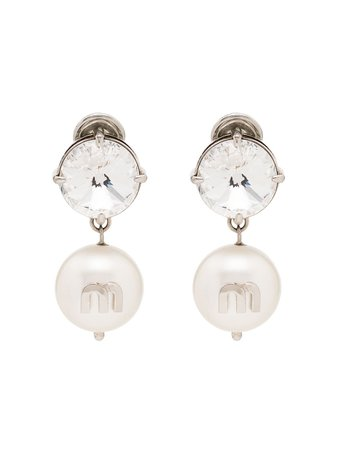 Miu Miu Silver-Tone Crystal And Pearl Earrings 5JO5612D4Y   Farfetch