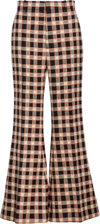 Plaid Wool Flare Trousers