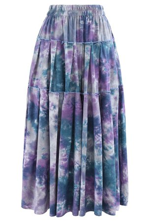 Tie-Dye Pleated Frill Midi Skirt in Purple - Retro, Indie and Unique Fashion