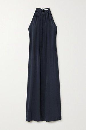 Edie Gathered Silk Maxi Dress - Navy