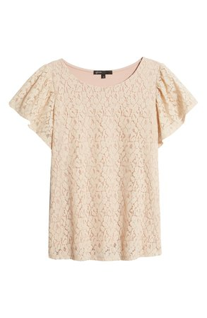 Gibson Glam Flutter Sleeve Lace Front Cotton Blend Top | Nordstrom