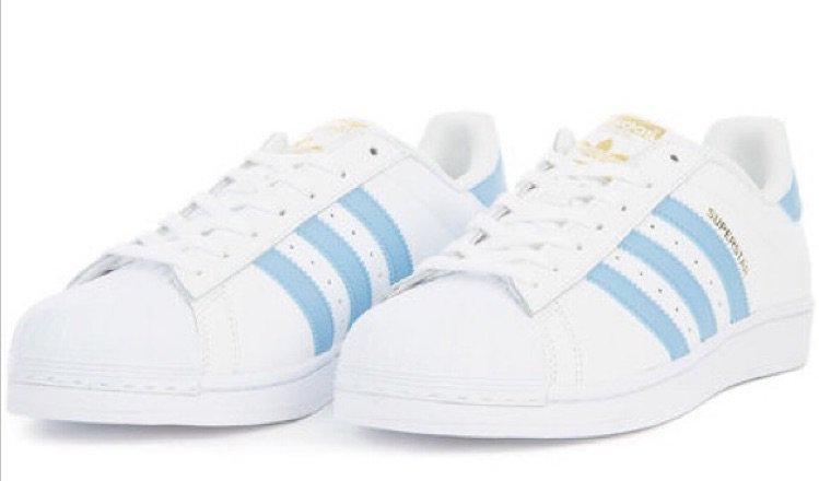 nwt light blue adidas superstars
