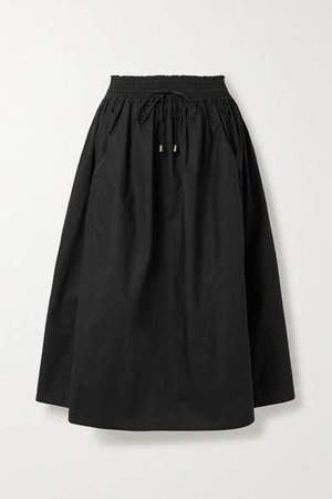 Wabi Sabi Cotton-poplin Midi Skirt - Black