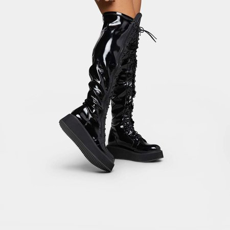 *clipped by @luci-her* Blade Lace Up Patent Boots   Koi