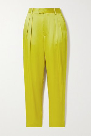 Pleated Duchesse-satin Tapered Pants - Chartreuse