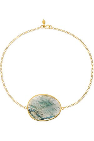 Pippa Small | 18-karat gold labradorite choker | NET-A-PORTER.COM