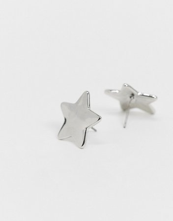 ASOS DESIGN stud earrings in star design in silver tone | ASOS