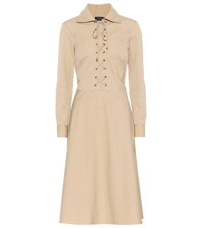 Cotton lace-up dress