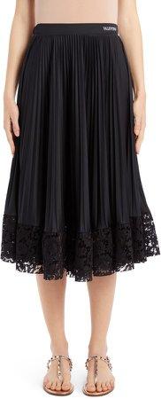 Lace Hem Pleated Midi Skirt