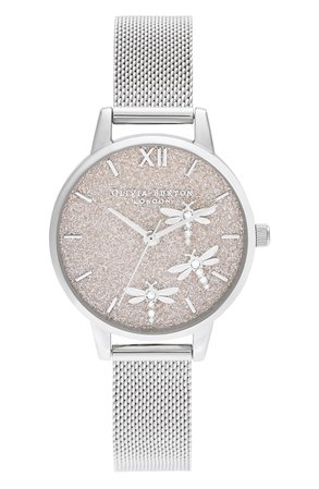 Olivia Burton Dancing Dragonflies Mesh Strap Watch, 30mm | Nordstrom