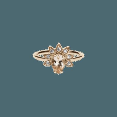 Meadowlark 9ct Rose Gold Morganite Diamond Petal Ring   Silvermoon