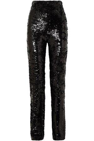 Black Sequined crepe straight-leg pants  | 16ARLINGTON