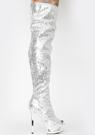 Pleaser Sequin Thigh High Boots