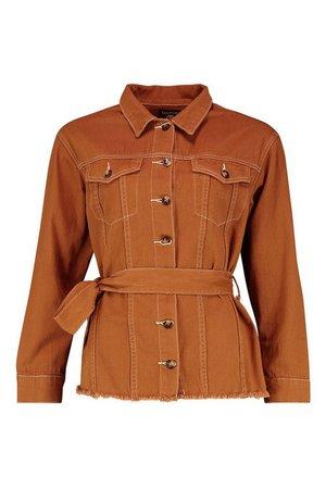 Belted Contrast Stitch Denim Jacket Brown | Boohoo