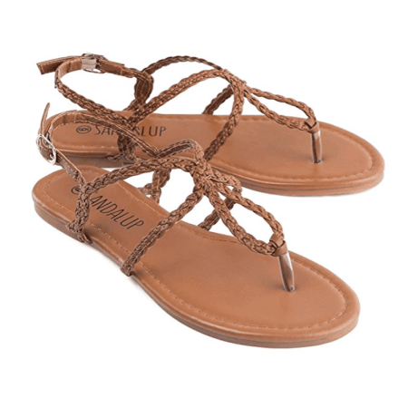 Sandalup - Newstar Braided Strap Thong Flat Sandals for Women, Summer Beach Flat Sandals with Buckle Slippers, HXZ064A Brown Flip Flops for Women - Walmart.com