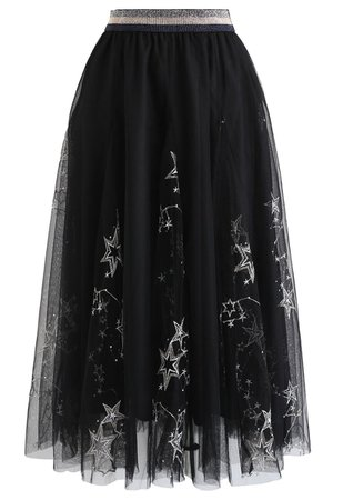 Chic Wish Sequined Embroidered Star Mesh Tulle Skirt in Black - Retro, Indie and Unique Fashion