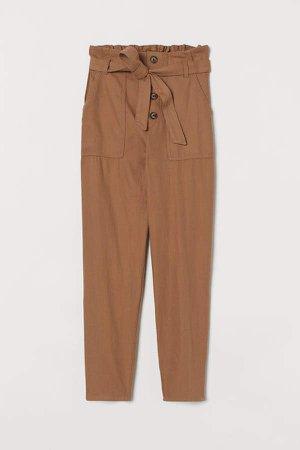 Cropped Paper-bag Pants - Beige