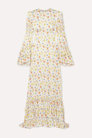 Tiered Floral-print Crepe Maxi Dress - Ivory