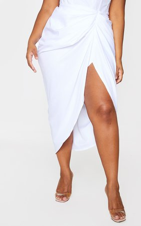 Plus White Ruched Side Midi Skirt | Plus Size | PrettyLittleThing USA