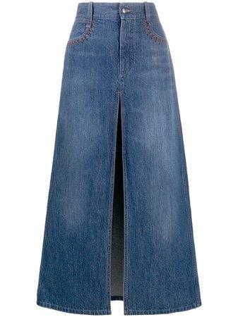 Chloé Front Slit Denim Skirt - Farfetch