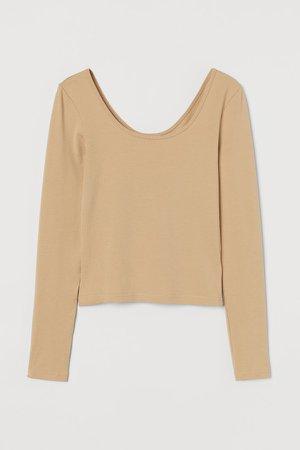 Cotton Jersey Top - Beige