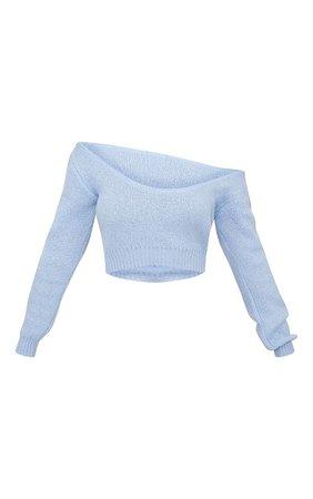 Blue V Neck Off Shoulder Knitted Cropped Jumper   PrettyLittleThing