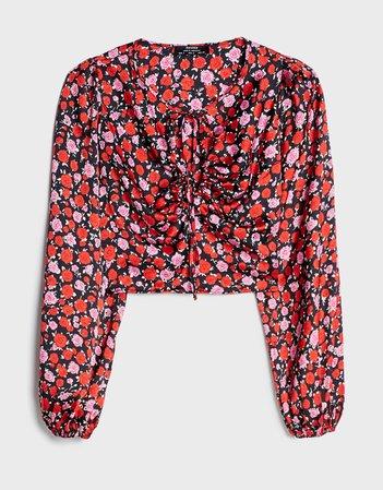 Floral cropped blouse - Shirts & Blouses - Woman | Bershka