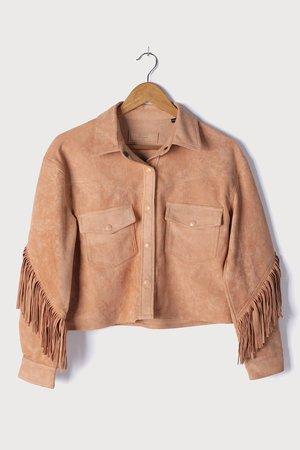 Blank NYC Hot Cocoa Jacket - Tan Suede Jacket - Fringe Jacket - Lulus