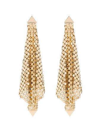 Gold Paco Rabanne gold-tone chain mesh earrings - Farfetch