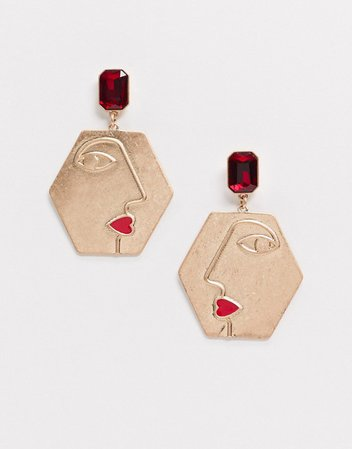 Monki Lilly diamonte face drop earring in gold and red | ASOS