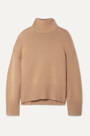 Tan Cashmere turtleneck sweater   Loro Piana   NET-A-PORTER