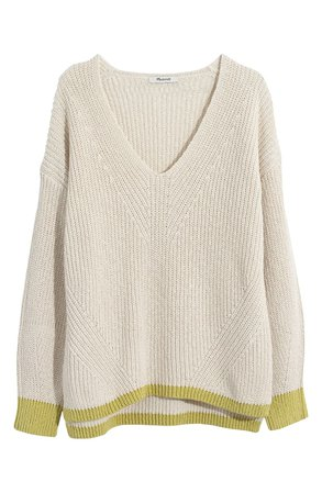 Madewell Tipped Ridgeton Pullover Sweater | cream