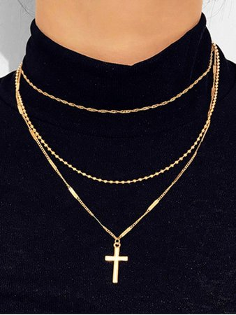 [41% OFF] [HOT] 2020 Cross Pendant Layered Necklace In GOLD | ZAFUL