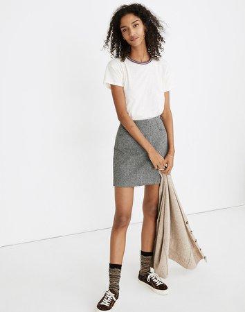 Herringbone Assembly A-Line Mini Skirt