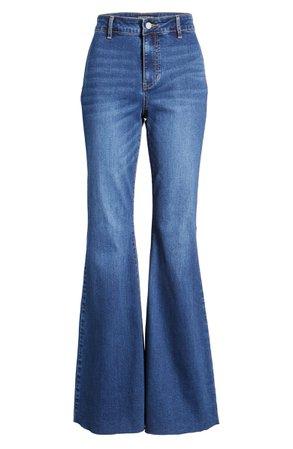 Prosperity Denim High Waist Raw Hem Flare Leg Jeans (Kelly) | Nordstrom