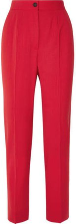 Wool-blend Straight-leg Pants - Red
