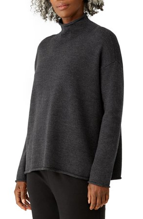 Eileen Fisher Funnel Neck Wool Sweater | Nordstrom