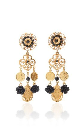 Charms Gold-Plated And Glass Clip Earrings By Dolce & Gabbana | Moda Operandi