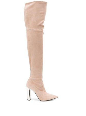 Neutral Casadei Thigh High Suede Boots   Farfetch.com