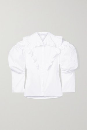 Ruffled Broderie Anglaise-trimmed Cotton-poplin Shirt - White