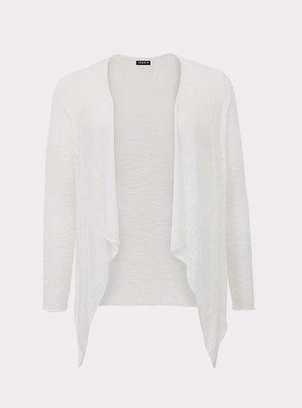 Plus Size - White Slub Drape Cardigan - Torrid