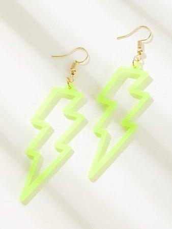 Neon Lime Lightning Bolt Drop Earrings 1pair | ROMWE