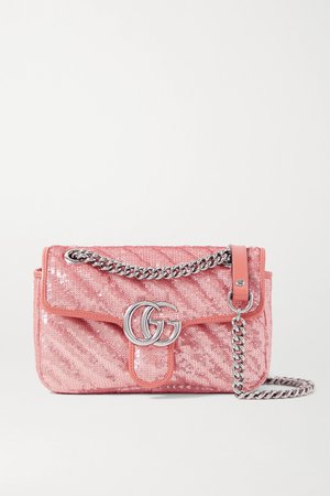 Pink GG Marmont mini leather-trimmed sequined silk shoulder bag | Gucci | NET-A-PORTER